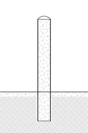 Diagram showing a pipe bollard installed in existing concrete
