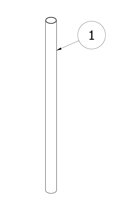 Diagram showing a parts list for installing pipe bollards in new concrete