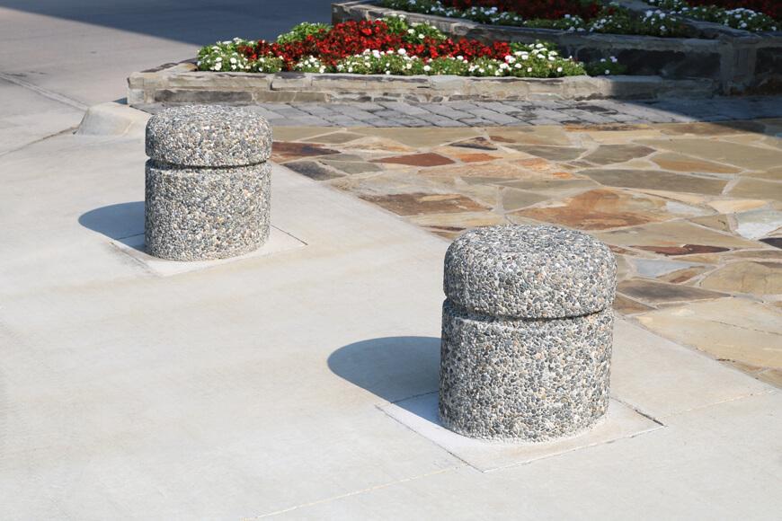 precast concrete bollards in sidewalk