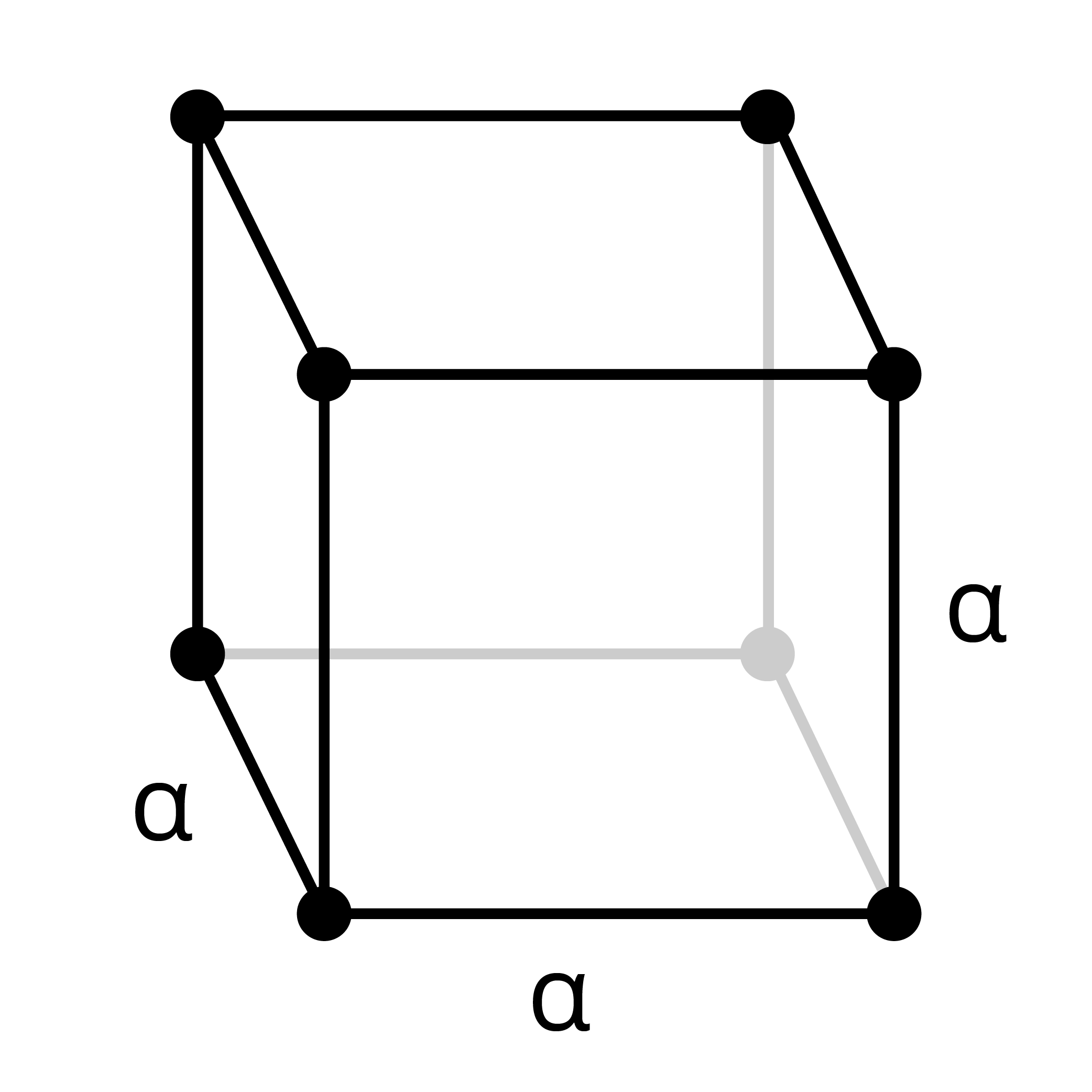 Wireframe shape of a cube with points at each corner