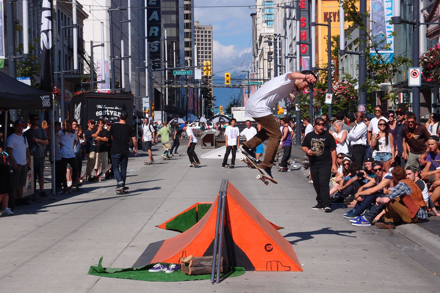 A skateboard event blocks off a street in downtown Vancouver