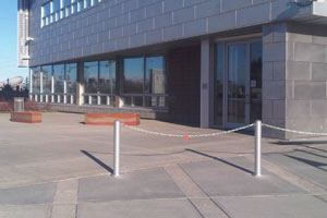 Protective bollards installed outside the Calgary Water Centre