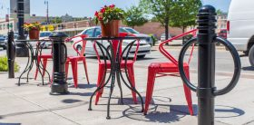 Bike parking bollards used for commercial and outdoor storage