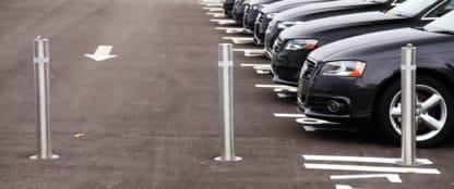 stainless steel bollards in parking lot
