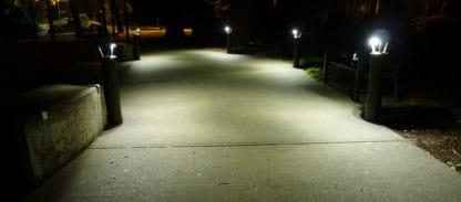 solar pathway lighting bollards on pathway