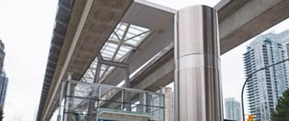 stainless steel bollard near public transit