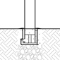 Diagram of a R-8464 removable bollard installed using a receiver with key