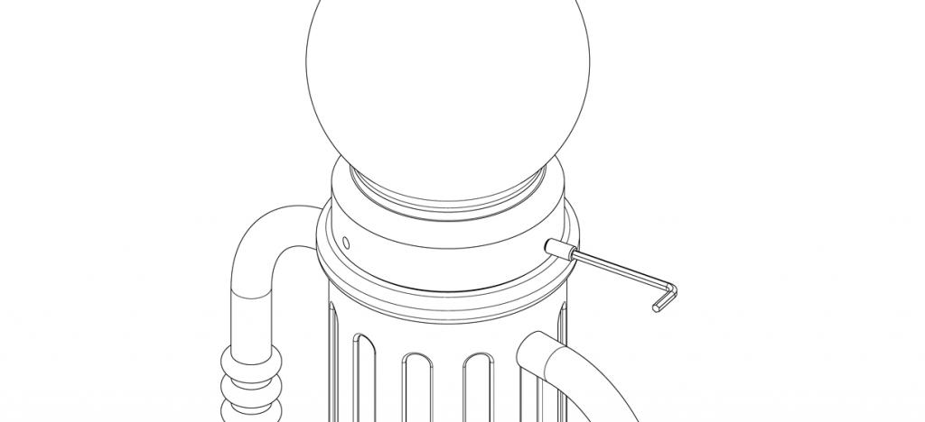 Diagram showing bike bollard cover cap secured to base