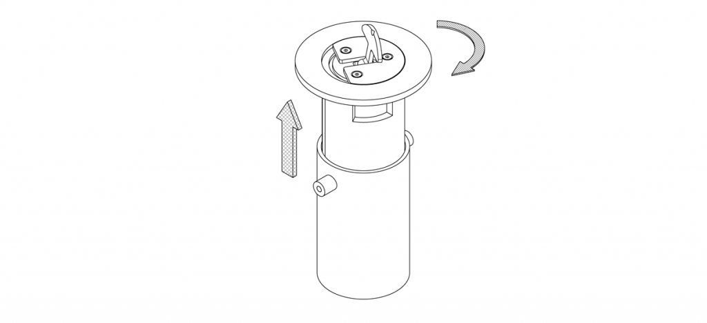 Diagram showing outer housing of retractable mount