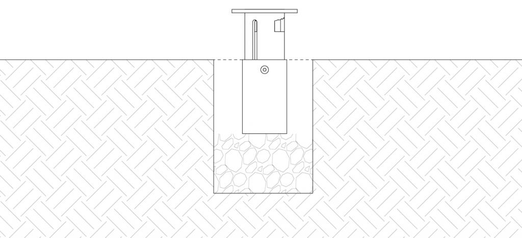 Diagram showing retractable mount in site