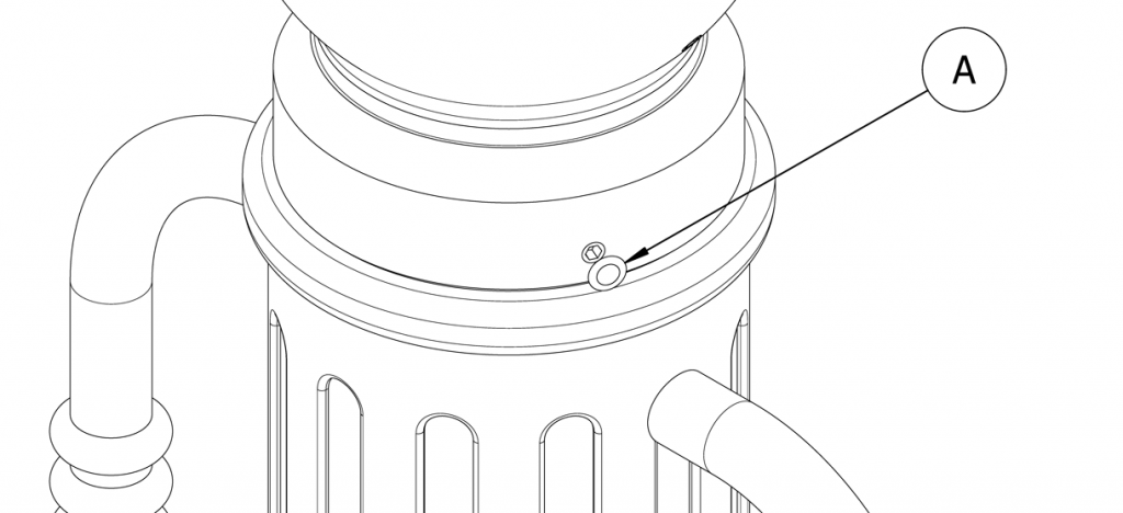 Diagram showing set screws covered with plastic plugs