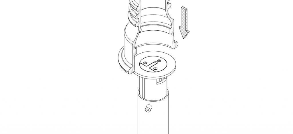Diagram showing bike bollard on top of retractable mount