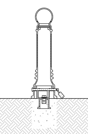 Diagram of a removable bollard installed with anchor casting