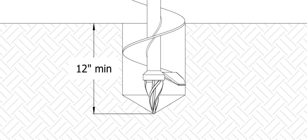 Diagram showing total digging depth at a minimum 12 inches