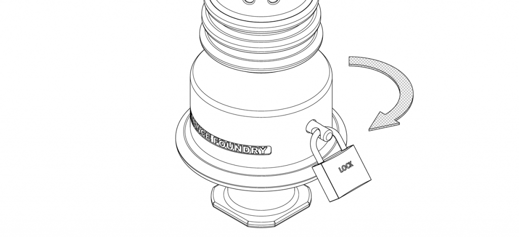 Diagram showing the lock pin through the holes of the bollard base and bollard twisted clockwise