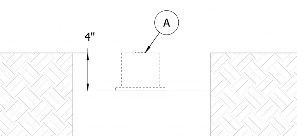 Diagram showing anchor casting in the site and how it will be flush with the finished surface grade