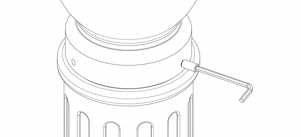 Diagram showing the bollard cover cap aligned to the base with three set screws and tightened with hex key