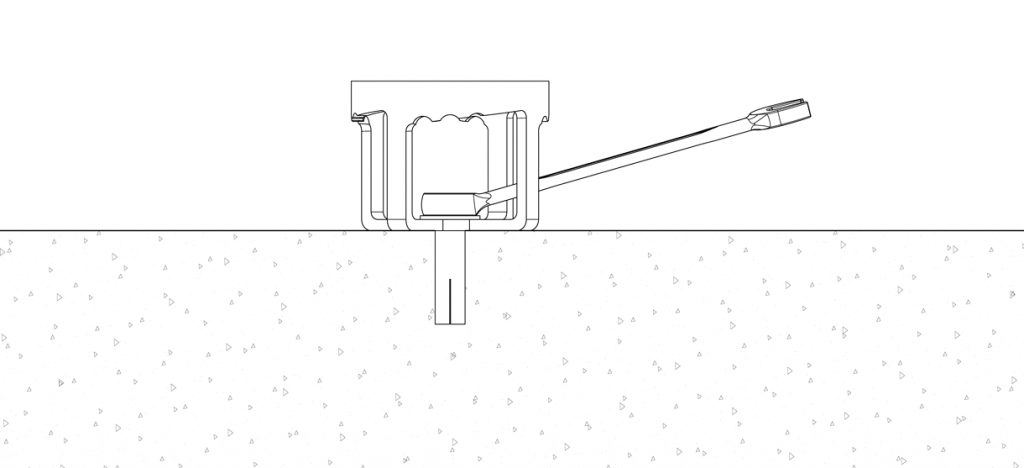 Diagram showing the bolt inside the center hole and a wrench tightening it