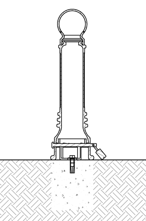 Diagram of a removable bollard installed with concrete insert