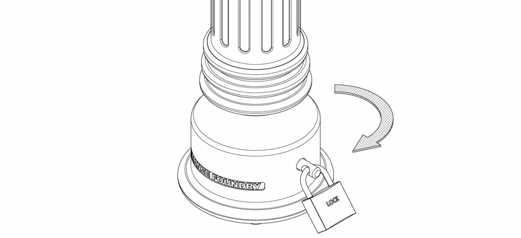 Diagram showing a pin through the holes of the bollard base and twisted in a clockwise motion to lock into place and secured with a padlock