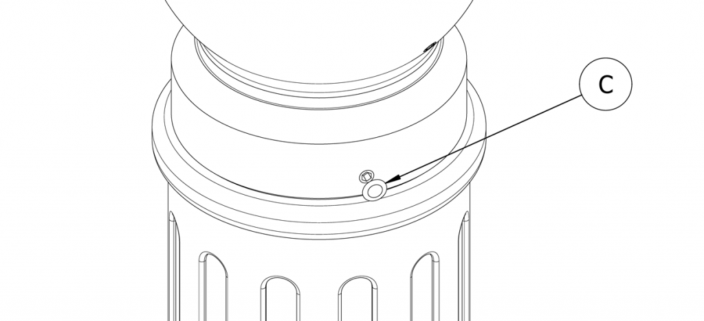 Diagram showing the set screws covered with plastic plugs