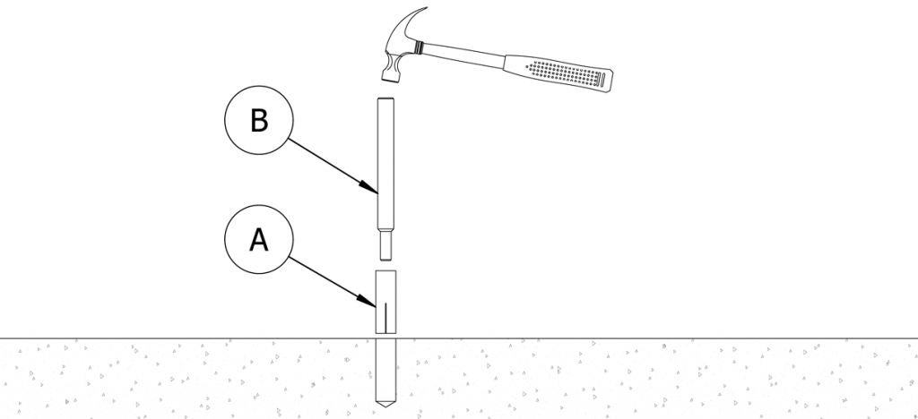 Diagram showing a setting tool inside the threaded hole