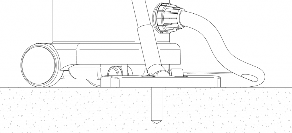 Diagram showing a vacuum clearing the hole