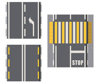 A top down view of an illustration of road markings