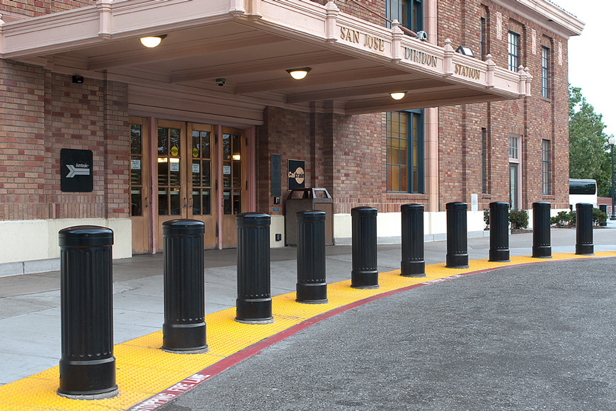 black decorative bollard covers protect steel bollards with a 12-inch diameter