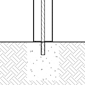 Diagram of a solar bollard installed using an adhesive anchoring system