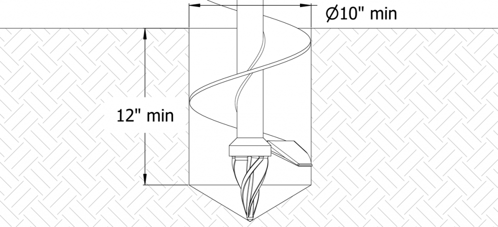 Diagram showing an auger digging a hole