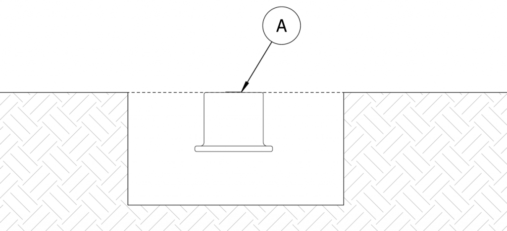 Diagram showing the anchor casting in site and its top is flush with the grade and that the plug (A) is covering the hole