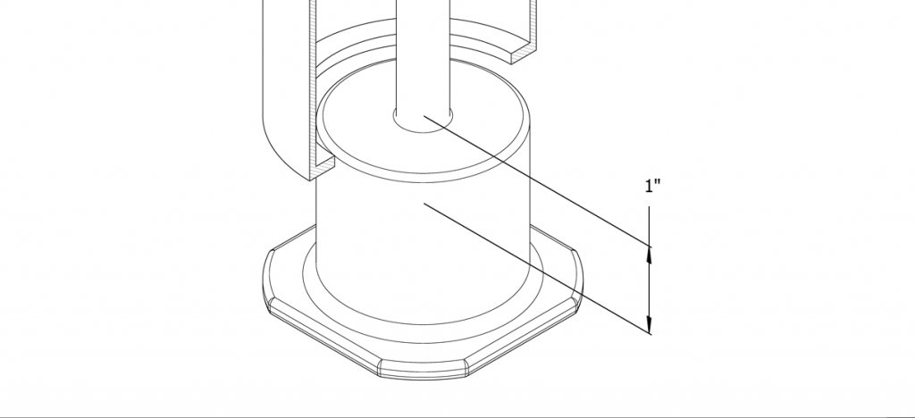 Diagram showing the threaded rod tightened in the anchor casting