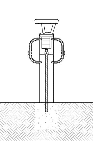Diagram showing solar bike bollard installation using adhesive anchoring