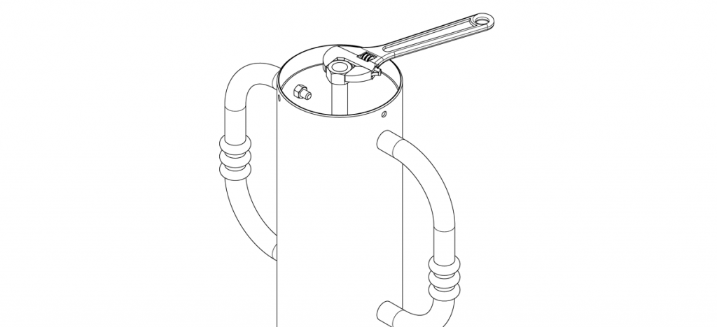 Diagram showing washer and nut tightened with wrench
