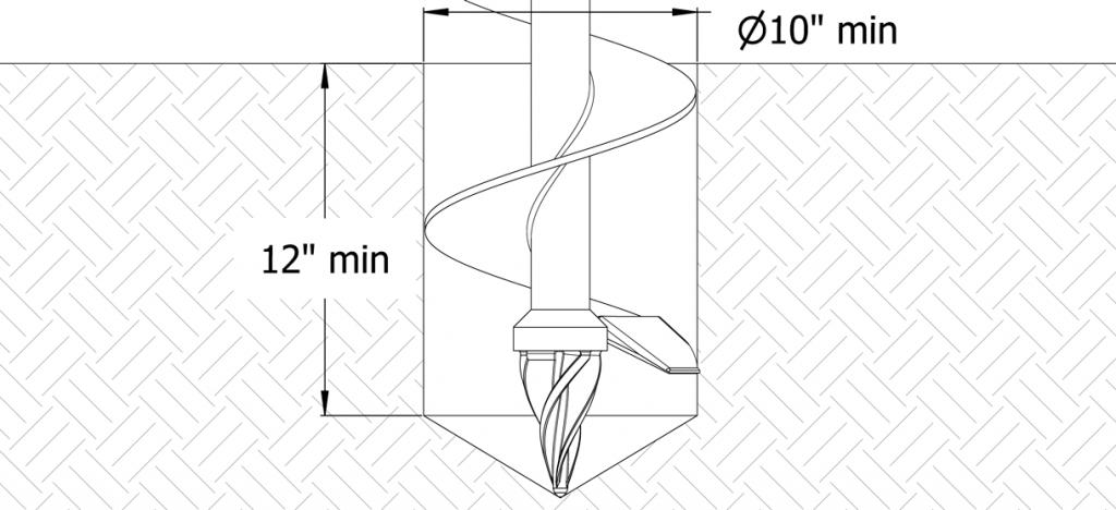 Diagram showing auger