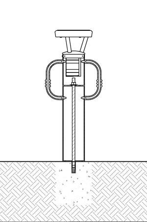 Diagram showing solar bike bollard installation using drop-in concrete insert