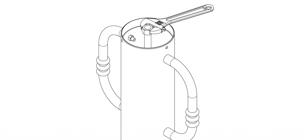 Diagram showing hex nut tightened with wrench