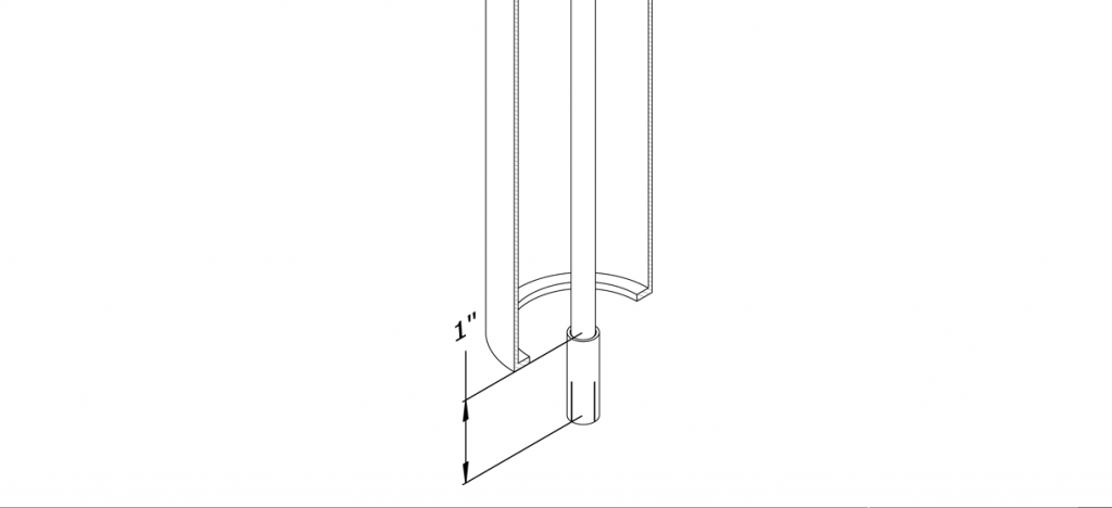 Diagram showing threaded rod being tightened