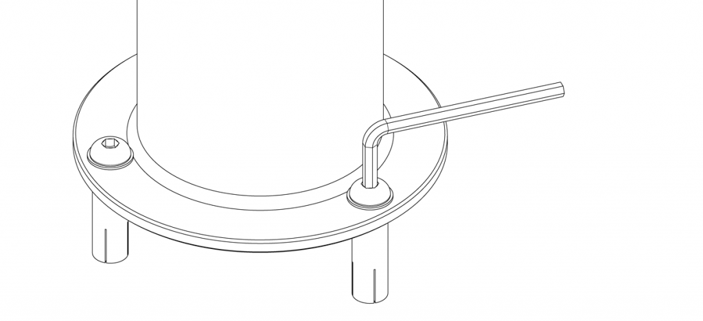 Diagram showing a hex key tightening the bolts