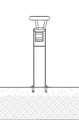 Diagram of solar bollard installed with flanged surface mountings