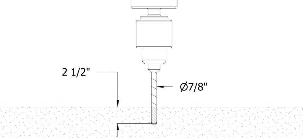 """Diagram showing a drill making a hole with a 7/8"""" diameter and 2-1/2"""" depth"""