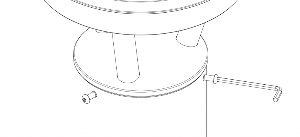 Diagram showing three bolts securing the solar light cap to the bollard base