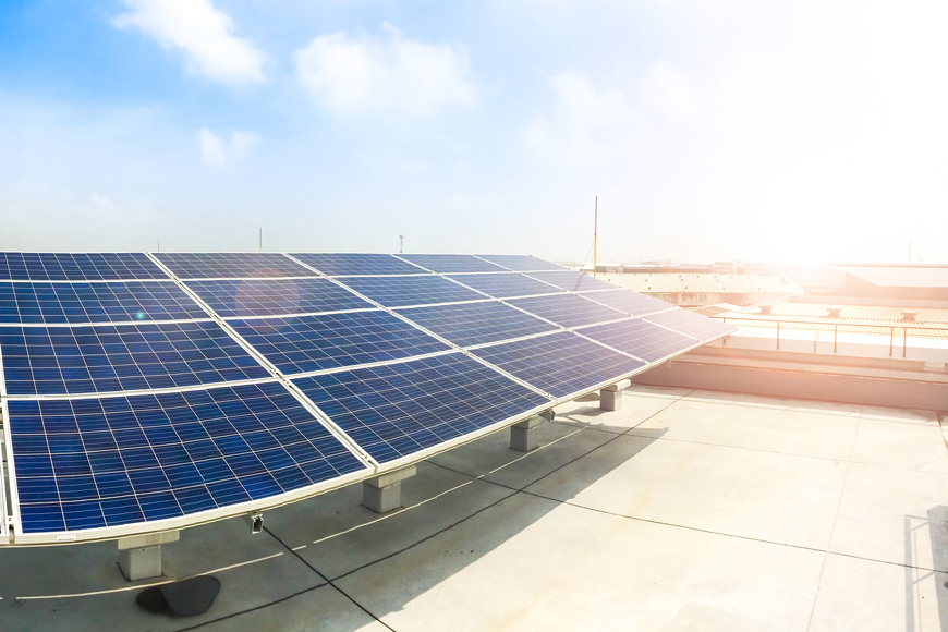 Solar panels in sun