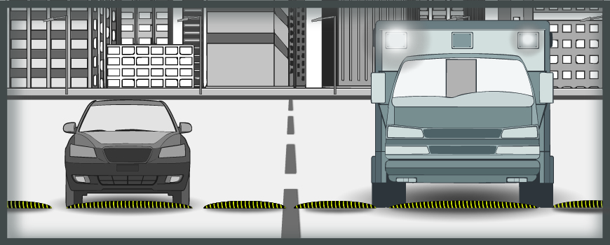 A graphic shows how speed cushions work by comparing a regular vehicle to an emergency vehicle
