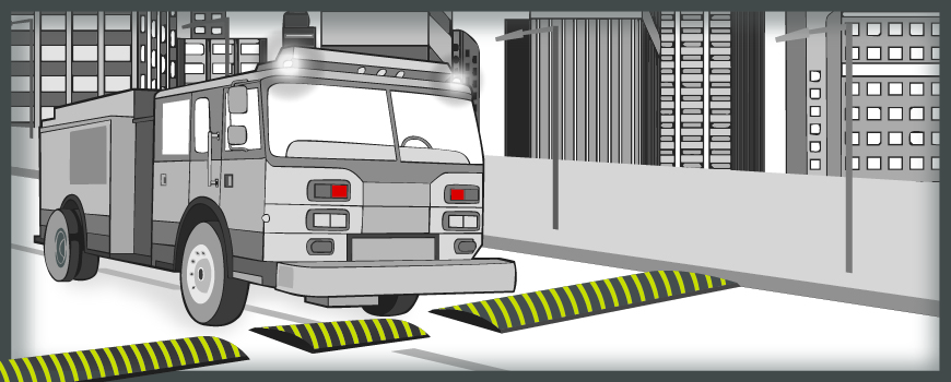 A speed slot allows a fire truck to pass through speed bumps without impediment