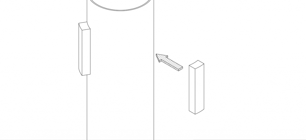 Diagram showing adhesive foam strips applied to the top of the pipe bollard