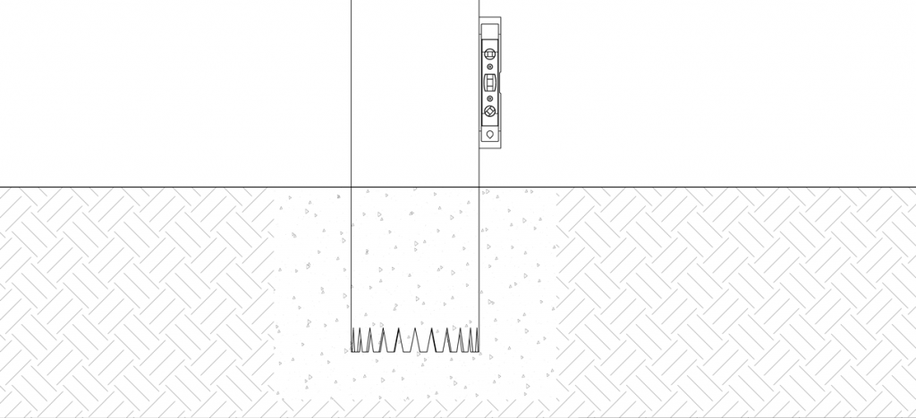 Diagram showing a level against the side of the pipe bollard to ensure it is plumb