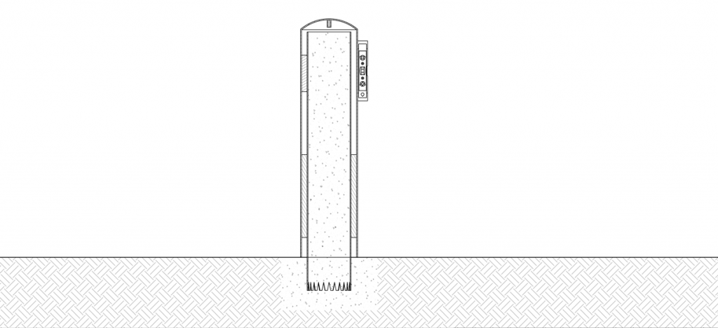 Diagram showing a level against the bollard cover after it has been lowered over the pipe bollard