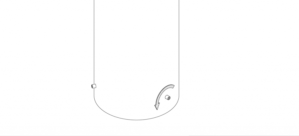 Diagram showing the set screws at the bottom holes of the bollard cover